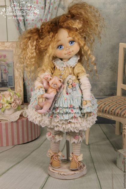 Коллекционные куклы ручной работы. Ярмарка Мастеров - ручная работа. Купить Маня . Кукла авторская текстильная Шебби-шик. Handmade.