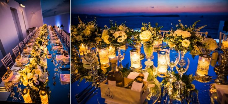 One long elegant wedding table eliciting the warmth of the white flowers and the candles to celebrate love intimately