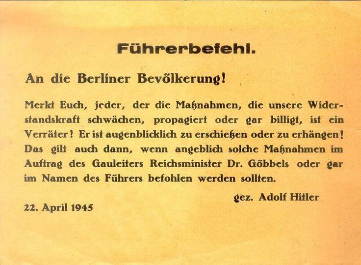 Flugblatt an die Berliner Bevökerung mit Warnung vor der Schwächung der Widerstandskraft, 1945