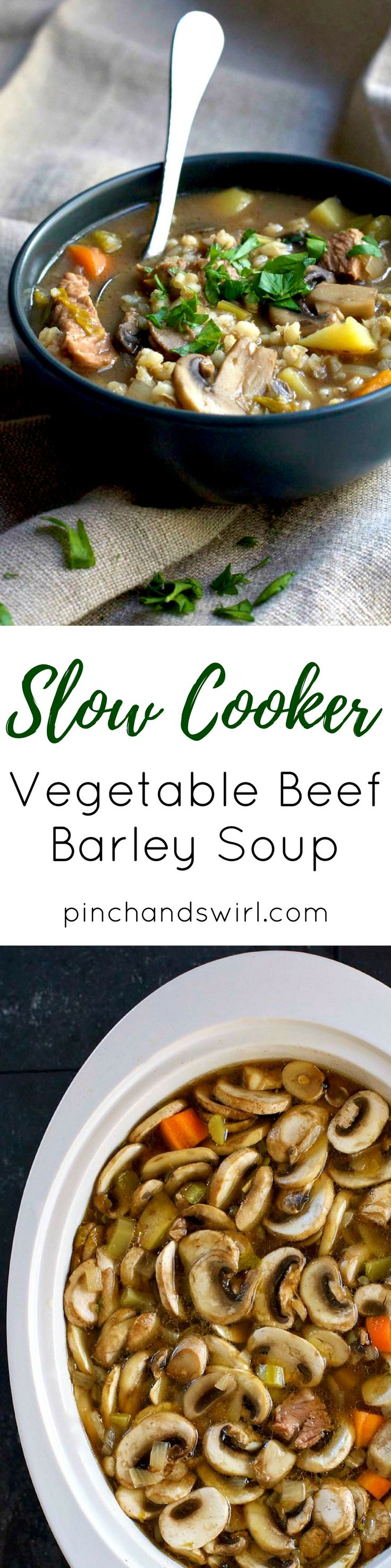 No meat searing required!! Homemade Slow Cooker Vegetable Beef Barley Soup is perfect winter comfort food and just 10 minutes of prep!
