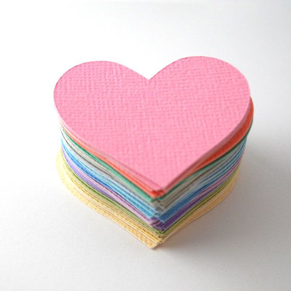 Hearts in Pretty Pastel Colours 75 Pack by PaperCottonLove, $7.50 www.papercottonlove.com