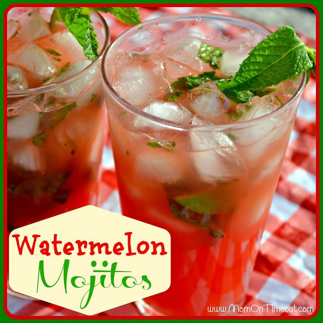 Easy to make and so incredibly refreshing, these Watermelon Mojitos need to make an appearance at your next party! | MomOnTimeout.com | #drink #cocktail #beverage #recipe