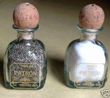 Pair 2 Small 50 ml Empty Patron Tequila Bottles Salt Pepper Shaker Crafts Favors