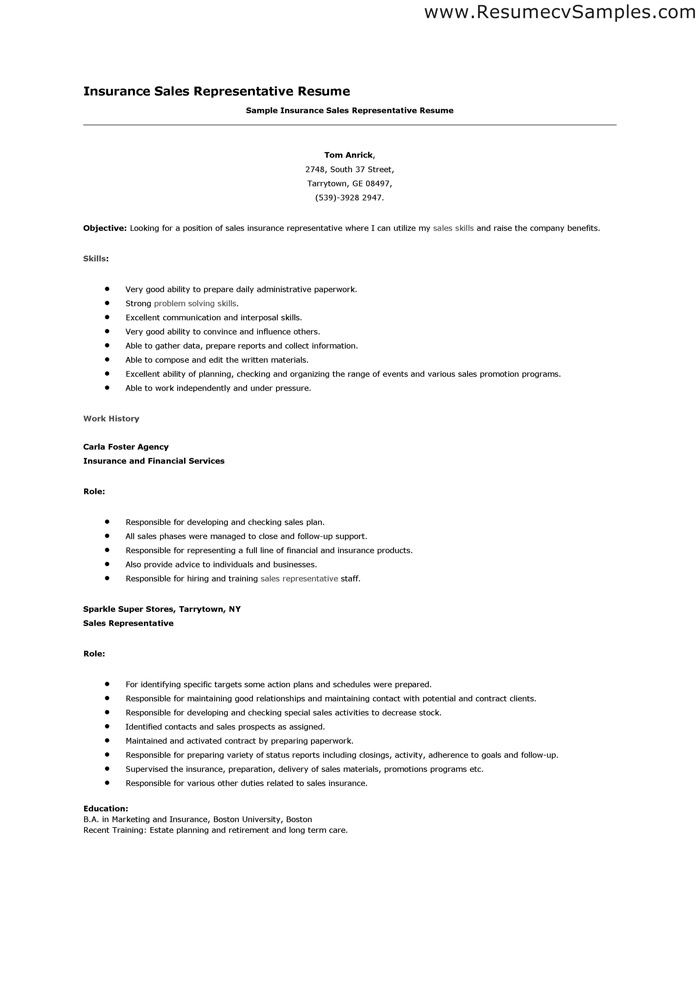 insurance sales associate sample resume insurance sales resume - Insurance Resume Examples