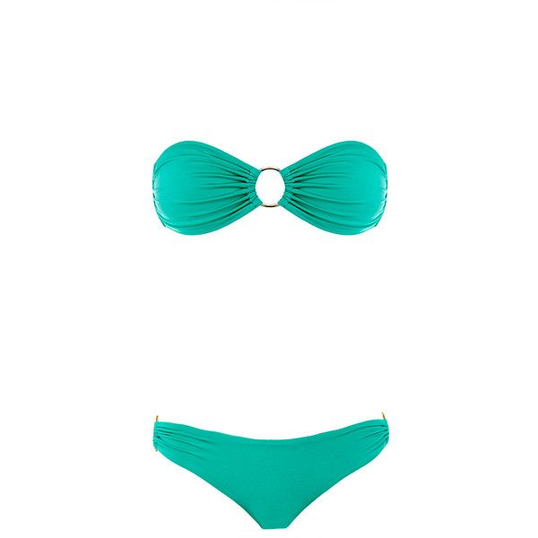 Melissa Odabash Evita Mint Shiny Bandeau Bikini ($94) ❤ liked on Polyvore featuring swimwear, bikinis, green, melissa odabash bikini, bandeau tops, green bikini, green swimwear and bikini swim wear