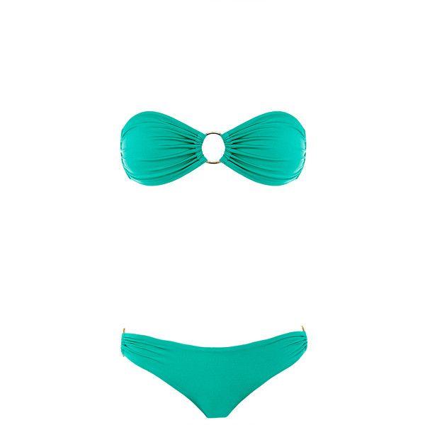 Melissa Odabash Evita Mint Shiny Bandeau Bikini ($94) ❤ liked on Polyvore featuring swimwear, bikinis, green, bandeau swimwear, bikini swim wear, shiny swimwear, bikini swimwear and bandeau top bikini