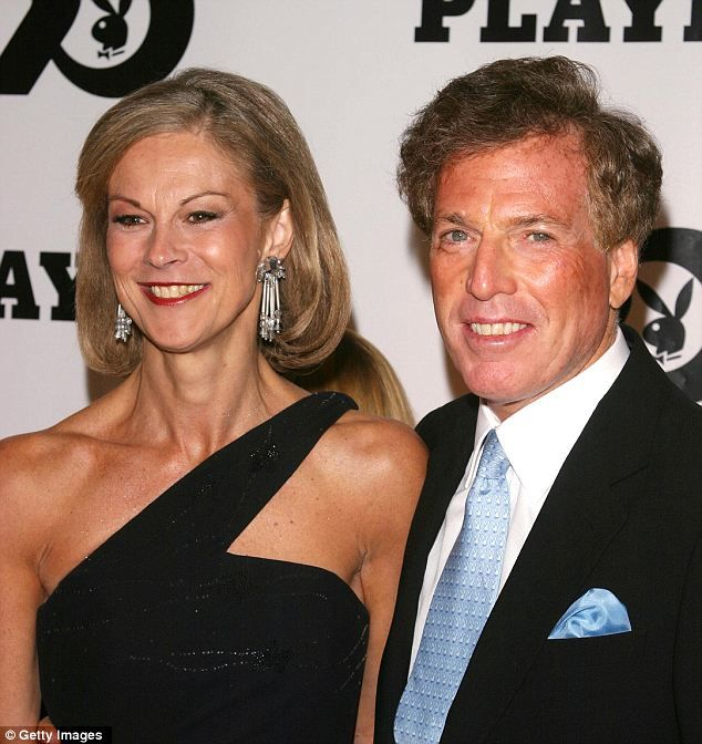 Betrayed: Christie Hefner (left) specifically told her husband Billy Marovitz (right, seen together in 2003) that he should not buy or sell Playboy stock while she served as the company's CEO