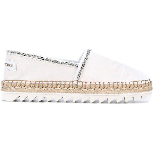 "Philipp Plein ""Adularia"" Espadrillas (545 BGN) ❤ liked on Polyvore featuring shoes, white, philipp plein shoes, white espadrilles, logo shoes, espadrilles shoes and round toe shoes"