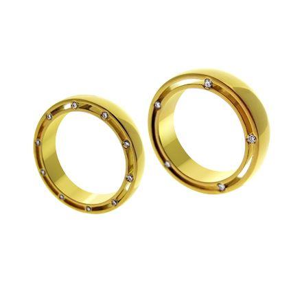 Золотые обручальные кольца с бриллиантами (Арт. 48)