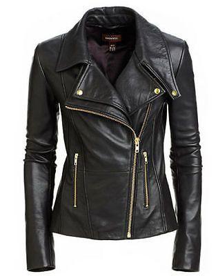 Nueva chaqueta de cuero moto mujer S Real Suave Piel De Cordero Abrigo para mujer Biker WJ111 in Ropa, calzado y accesorios, Ropa para mujer, Abrigos y chaquetas | eBay