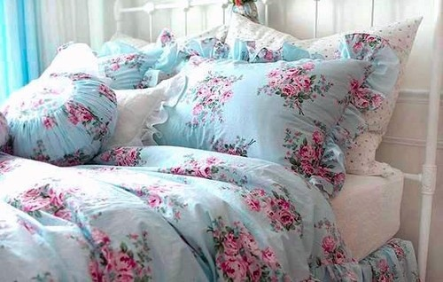 Shabby Princess Chic Blue Rose Floral Duvet Cover Bedding
