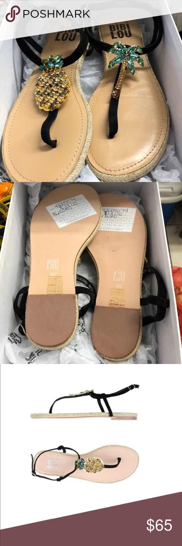 NWT❗️SALE❗️ AND BOX Pineapple 🍍 and palm tree 🌴 Brand new. Box included would be great for a holiday gift. Anthropologie Shoes Sandals