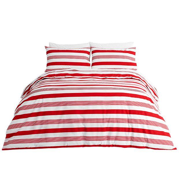 Torbin Stripe Quilt Cover Set - Red