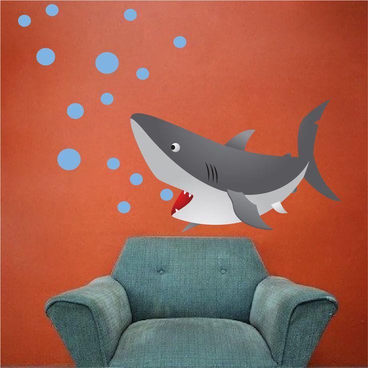 Kids Shark Bedroom or Bathroom Vinyl Wall Mural Decal, Peel and Stick Kids Animal Ocean Decals, Shark, Nursery Fish Shark Wall Mural, c32 by PrimeDecal on Etsy https://www.etsy.com/listing/233041445/kids-shark-bedroom-or-bathroom-vinyl