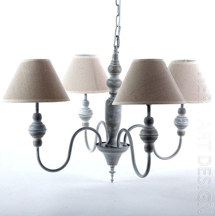 LAMPADARIO da soffitto 5 bracci metallo e legno paralume tessuto Shabby Chic