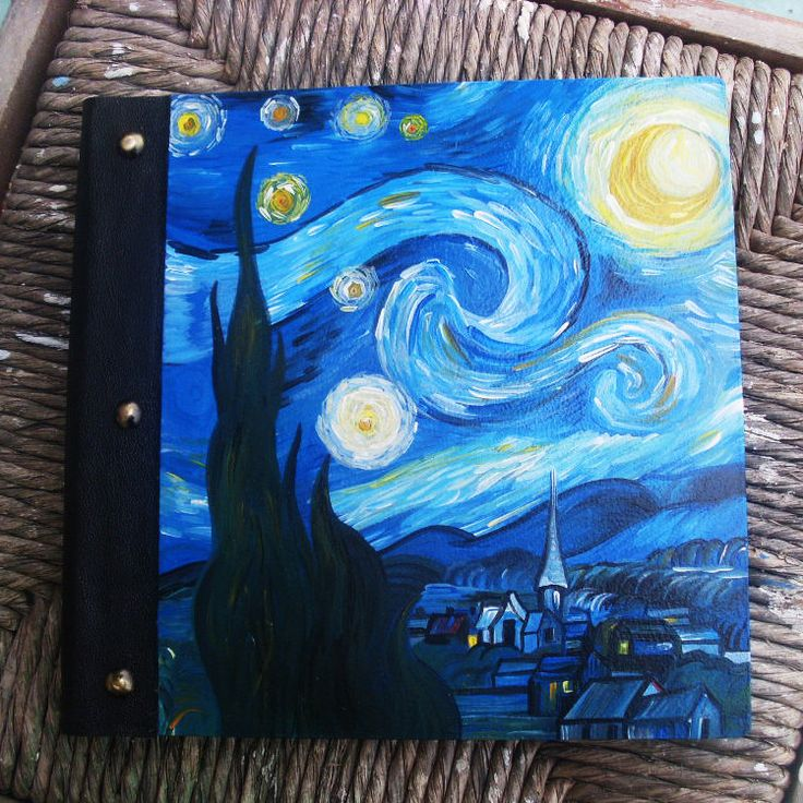 Photo Books, Photobook, Photo Album, Photo Album Book, Wooden Photo Album, Totally Handmade Album, The Starry Night by allabouthandicraft on Etsy