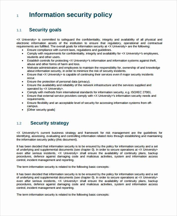 Information Security Policy Template Fresh 10 It Security Policy Templates Policy Template Business Plan Template Letter Template Word