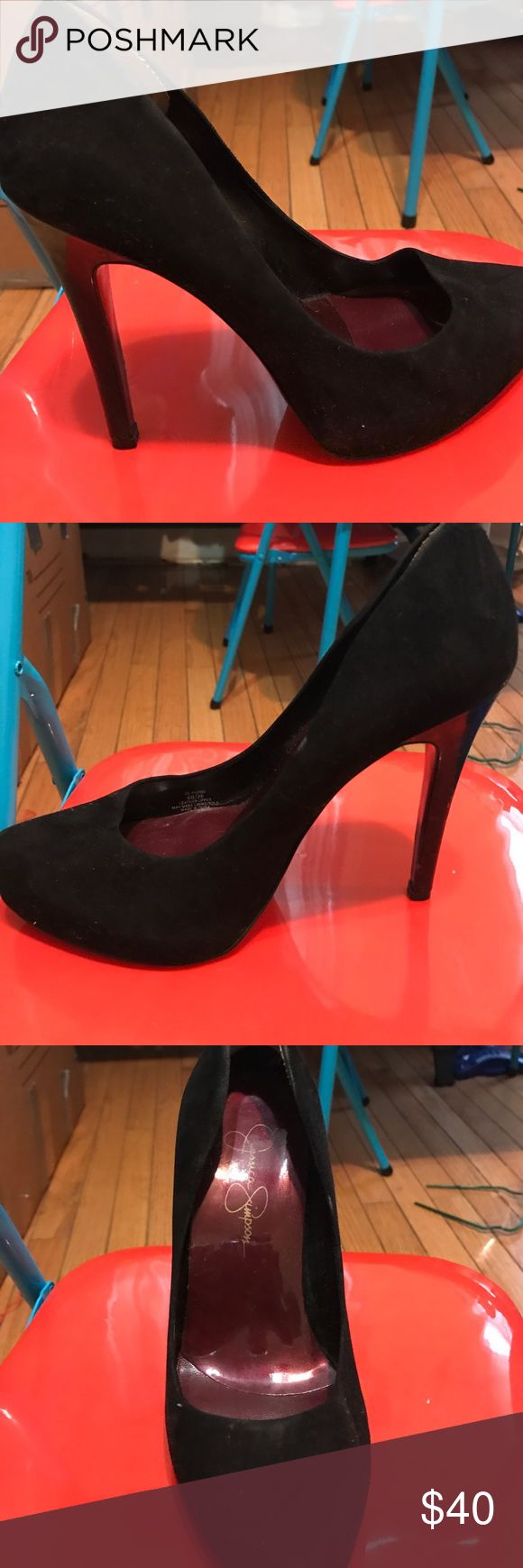 Jessica Simpson Black Pumps Slightly worn. Worn 2x with a platform (1 inch) infront for comfort. 4.5 Inch heel. Doesn't come with box. Jessica Simpson Shoes Heels
