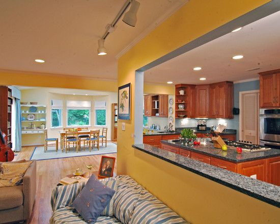 Exciting Galley Kitchen Remodel Ideas With Alluring Yellow Wall Paint Color Also Elegant