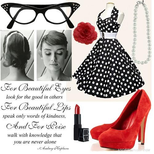 I love polka dots!! as well as bright pops of color, and red black and white are classic :D (50's Party | Women's Outfit | ASOS Fashion Finder)
