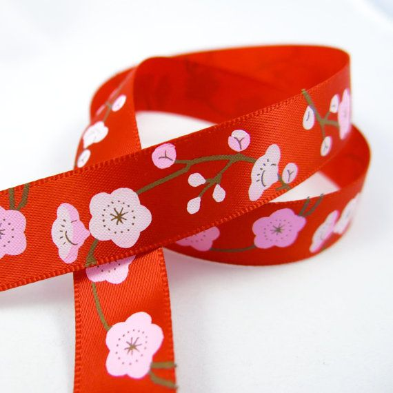 Cherry Blossom Ribbon. Pink Flower Fabric. by TheCabochonMarket