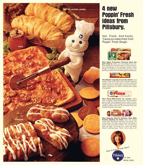 Doughboy Ideas The Pillsbury Doughboy was full of ideas in 1967! That's when he introduced Streusel, Buttered Loaves, Pizza with Sauce and new cookie options. If you were lucky, he popped over to say hi and cut your pizza too!