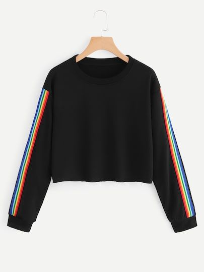 cf5c018e8 Shop Colorful Striped Tape Side Sweatshirt online. SheIn offers Colorful  Striped Tape Side Sweatshirt & more to fit your fashionable needs.