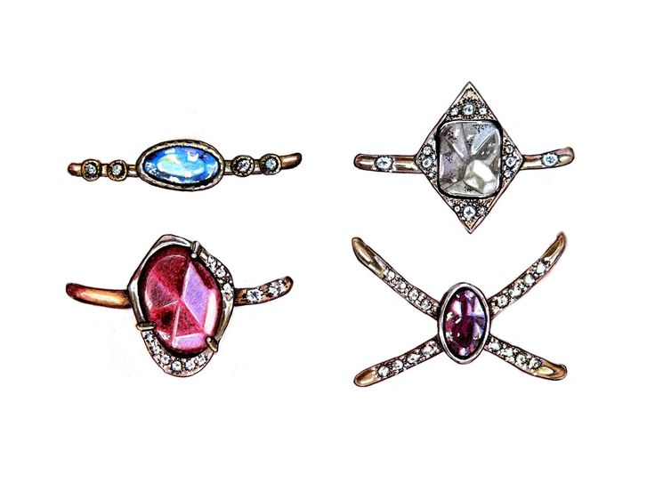 realistic drawing rings jewellery
