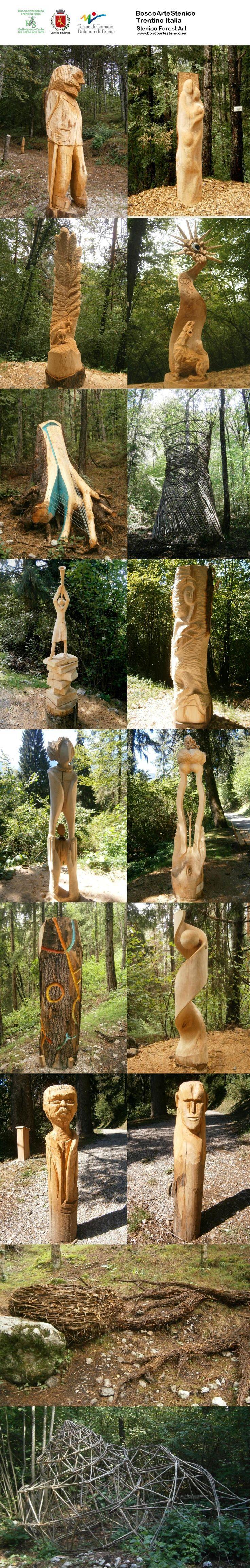 Some of the magnificent wood sculptures on the forest art trail behind Stenico village, Trentino #BoscoArteStenico #sculture #legno #visitacomano