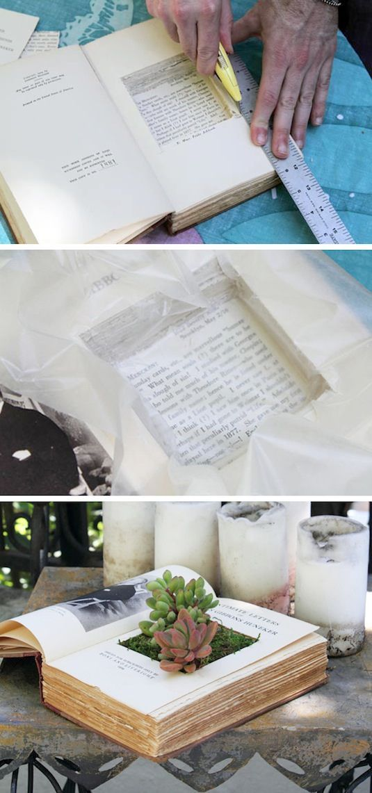 24 Creative Garden Container Ideas | Use books as planters!