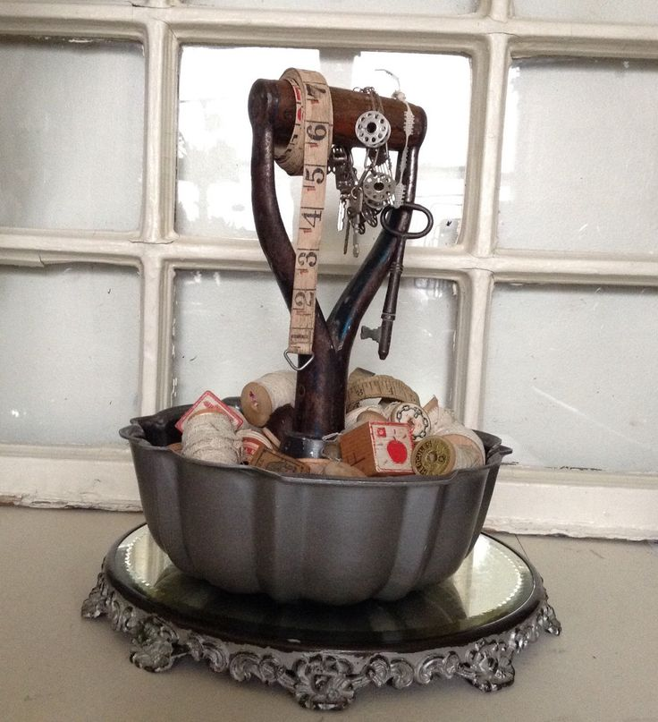 Bundt Cake Pan with shovel handle recycled repurposed organizer tray jewelry display carrying holding of any articles by Junkology4all on Etsy https://www.etsy.com/listing/229228679/bundt-cake-pan-with-shovel-handle