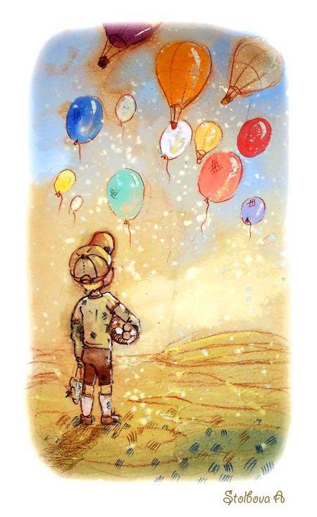 Открытка ребенок на шарике, открытки открытка днем
