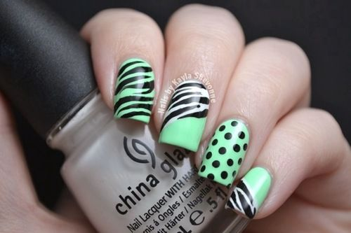 Nail Design:  Zebra & Polka Dots #green #nailart
