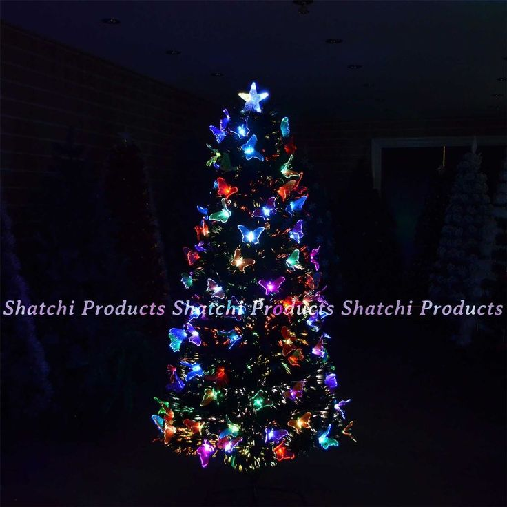 4ft -120cm Christmas tree Fibre Optic Pre-Lit xmas tree Butterfly LED Lights #SHATCHI