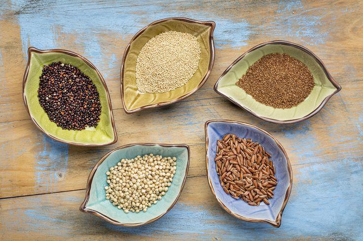 Cereales, granos y sus harinas sin gluten saludables para la dieta del celíaco. Los cereales más sanos en la alimentación sin gluten. #DíadelCelíaco