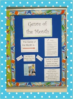 Miller Jan 30 - The Book Bug: Genre of the Month -- Another wonderful idea to encourage students to try new types of books.