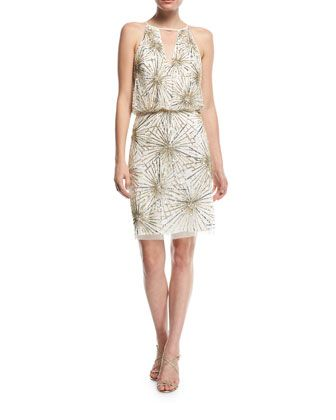 Beaded+Blouson+Cocktail+Dress+by+Aidan+Mattox+at+Neiman+Marcus.