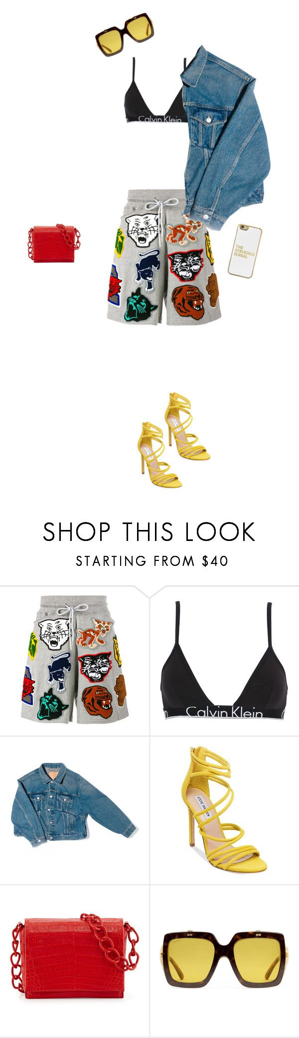 """What's for lunch?"" by elleinadaba ❤ liked on Polyvore featuring Facetasm, Calvin Klein Underwear, Balenciaga, Steve Madden, Nancy Gonzalez, Gucci and BaubleBar"