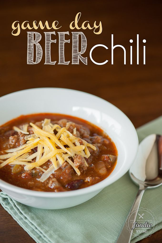 Game Day Beer Chili | Self Proclaimed Foodie - made with a nice amber beer and fresh tomatoes, this chili is outstanding after an afternoon in the slow cooker