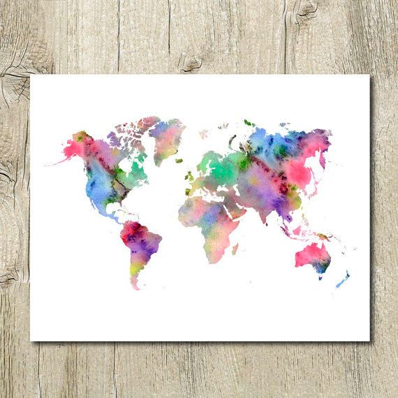 Printable watercolor world map wall decor instant for World map wall art