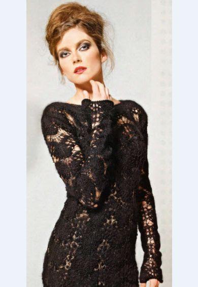 Маленькое черное платье, вязаное спицами