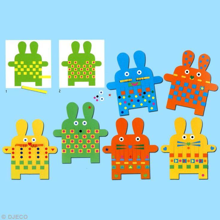 Djeco Petits cadeaux - Maternelles - Tissages et gommettes 6 lapins - Photo n°2