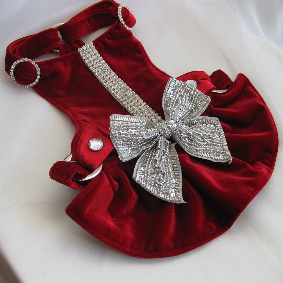 Small Dog | Harness Dress | Choke Free Harness | Red Velvet | Bow Dress