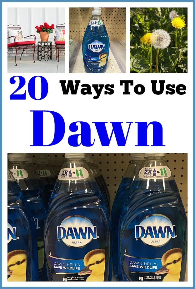 20 Ways to Use Dawn Dish Soap! Did you know that Dawn can be used for much more than just dishes? Check out these frugal ways to use Dawn dish soap! They can save you a lot of money!   money saving tips, frugal living, cleaning tips, cleaning hacks, DIY, homemade cleaners, #cleaninghacks #dawnbeyondthesink