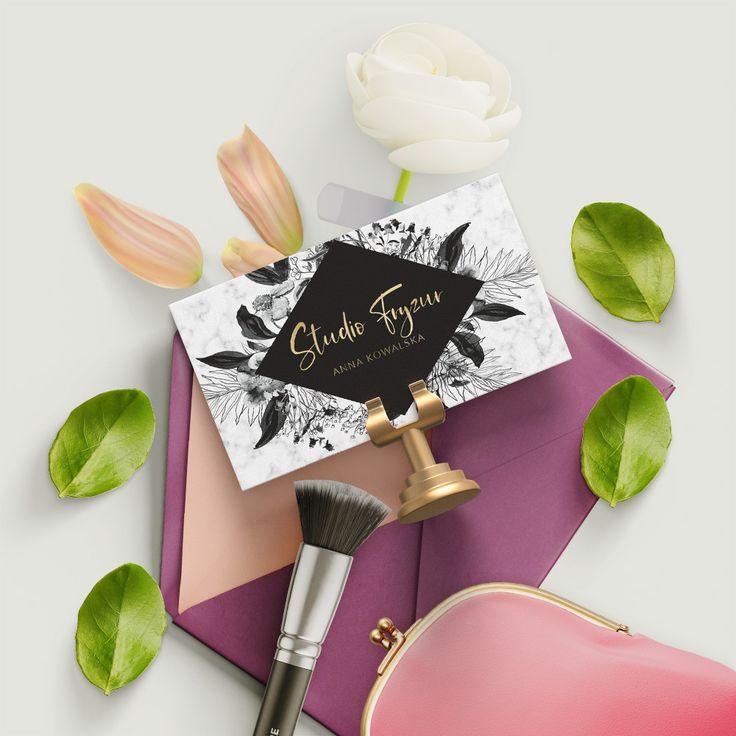 Wizytowki Dla Stylistki Paznokci Wizytowki Glamour Wizytowki Zlote Logo Wizytowki Czarne Kwiaty