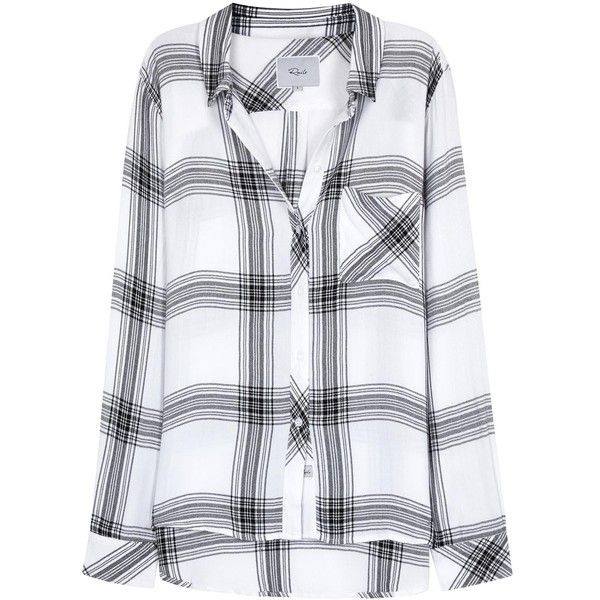 Rails Hunter monochrome plaid flannel shirt (£140) ❤ liked on Polyvore featuring tops, shirts, long sleeves, white and black plaid shirt, long-sleeve shirt, tartan shirts, black and white top and long sleeve tops