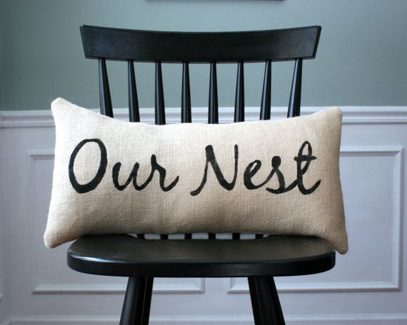 Our Nest Burlap Pillow Cover Home Decor By CariJoyDesigns On Etsy, $26.00