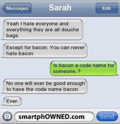 TRUE!! SOOOO TRUE!!Hate Bacon, Funny Texts, Humor Jokes, Bacon Rocks, Bacon Humor, Funny Pictures, Website, Funny Stuff, Jokes Funnypictures