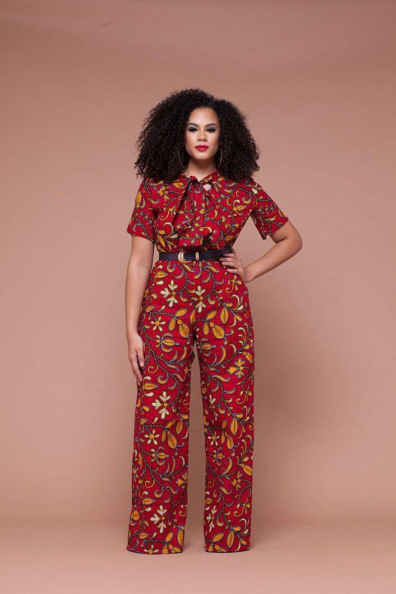 Amour African Print Wide leg Jumpsuit