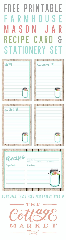 Free Printable Farmhouse Mason Jar Recipe Card And Stationery Set